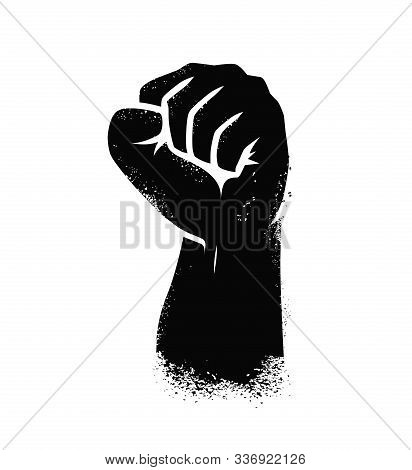 Clenched Fist. Hand Gesture Symbol Vector Illustration