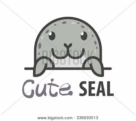 Logo Template With Cute Curious Harbor Seal. Vector Logo Design Arctic Animal Template For Zoo, Vete