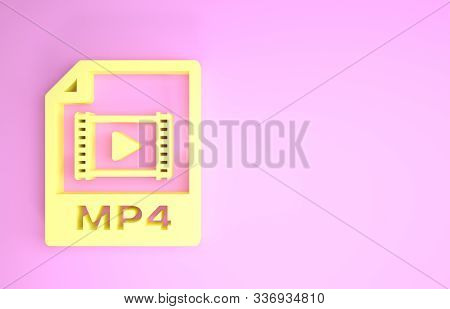Yellow Mp4 File Document. Download Mp4 Button Icon Isolated On Pink Background. Mp4 File Symbol. Min