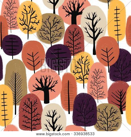 Autumn Trees Seamless Pattern. Fall Nature Outdoor Repeating Background. Use For Thanksgiving, Packa