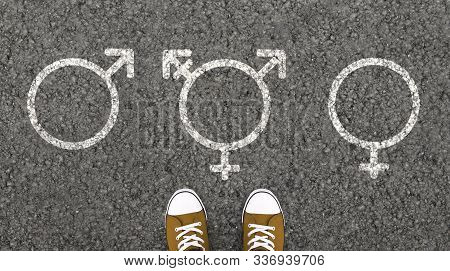 Person Standing With Transgender, Male And Female Gender Symbols Drawn On Asphalt Road. Overhead Vie