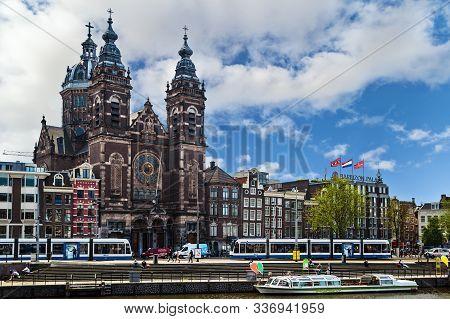 Amsterdam, Netherlands - May 23, 2019: The Basilica Of Saint Nicholas Known As Basiliek Van De Heili