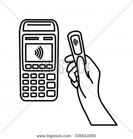 Nfc Payment Vector Outline. Contactless Payment Machine From Key Fob. Vector Illustration Hand Of Cu