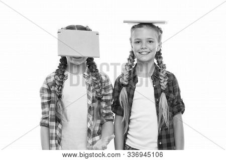 Being Genius For Hard Study. Genius Schoolchildren Isolated On White. Small Girls Holding Books On H