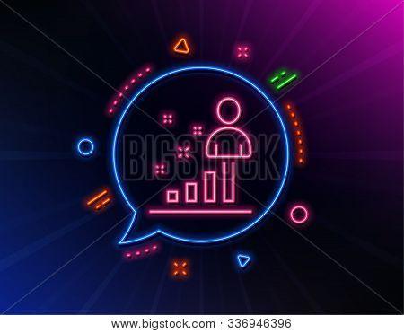 Stats Line Icon. Neon Laser Lights. Business Management Sign. Best Employee Symbol. Glow Laser Speec