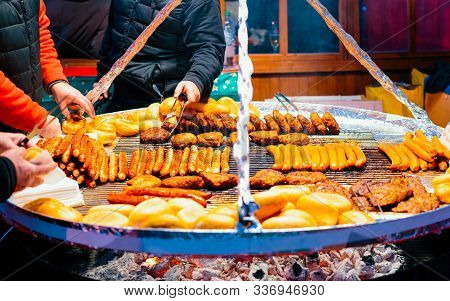 Traditional Bbq Barbeque Wurst Sausages On Christmas Market Berlin Reflex
