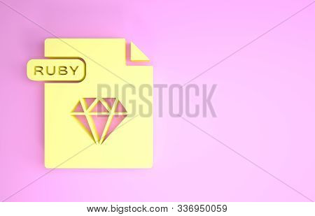 Yellow Ruby File Document. Download Ruby Button Icon Isolated On Pink Background. Ruby File Symbol.