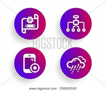 Restructuring, Seo Phone And Cogwheel Blueprint Icons Simple Set. Halftone Dots Button. Rainy Weathe