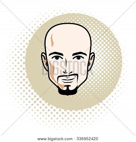 Caucasian Man Face Features Expressing Confidence, Vector Human Head Illustration. Attractive Bearde