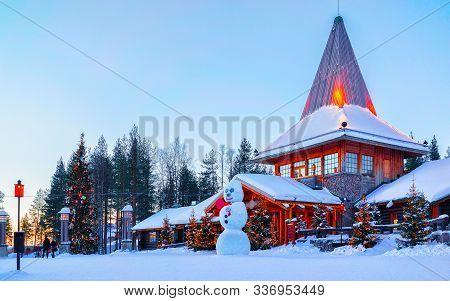 Snowman At Santa Office At Santa Village Rovaniemi Lapland New