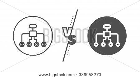 Business Architecture Sign. Versus Concept. Restructuring Line Icon. Delegate Symbol. Line Vs Classi
