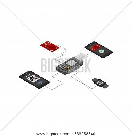 Nfc Payment Vector Illustration, Contactless Payment Isometric Design Concept. Contactless Payment C