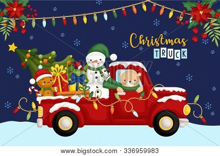 A Vector Of Cute Bear Riding Red Christmas Truck Full Of Gifts At Night