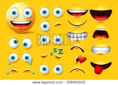 Emoticon Character Creation Vector Set. Emoji Face Kit Eyes And Mouth In Angry, Crazy, Crying, Naugh