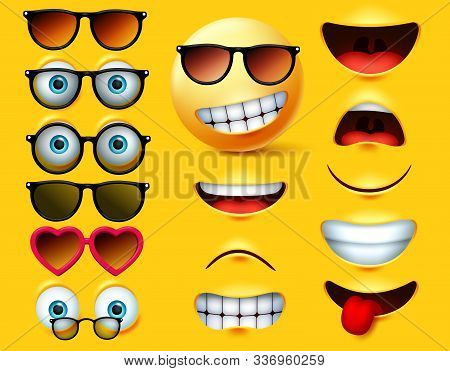 Emoticons With Sunglasses Vector Creation Kit. Emojis And Emoticon Head Face Kit Eye And Mouth In Su