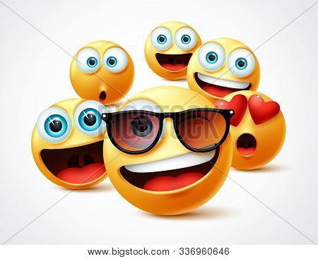 Emojis Famous Celebrity Vector Concept. Famous Emoticon Yellow Faces Group In 3d Realistic Avatar Wi