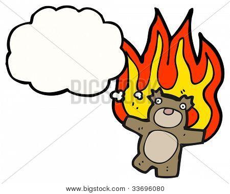 cartoon teddy bear burning poster