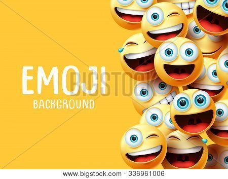 Emojis Vector Background. Funny Emoji Background Text With Emoticon Group Face Head In Excited, Surp