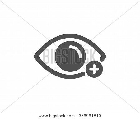 Eye Diopter Sign. Farsightedness Icon. Optometry Vision Symbol. Classic Flat Style. Simple Farsighte