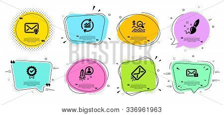 Secure Mail, Verified Mail And Paint Brush Line Icons Set. Chat Bubbles With Quotes. Update Data, St