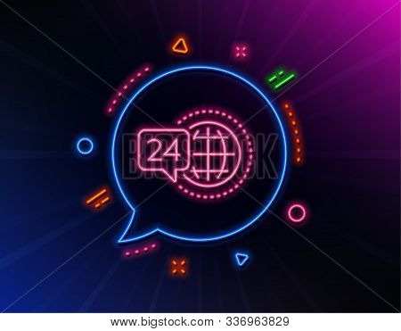 24 Hour Service Line Icon. Neon Laser Lights. Call Support Sign. Feedback Chat Symbol. Glow Laser Sp