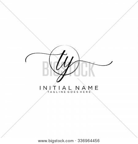 Ty Initial Handwriting Logo With Circle Template Vector.