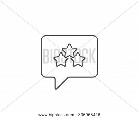 Ranking Stars Line Icon. Chat Bubble Design. Star Rating Sign. Best Rank Symbol. Outline Concept. Th