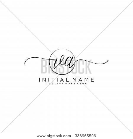 Va Initial Handwriting Logo With Circle Template Vector.