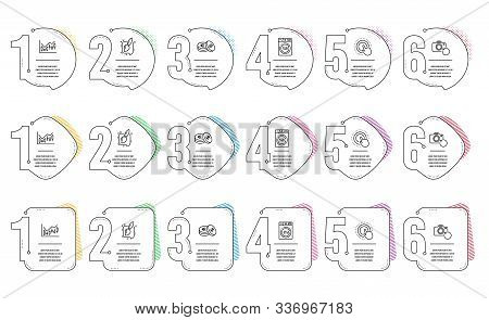 Painting Brush, Click Hand And Financial Diagram Line Icons Set. Infographic Timeline. Recovery Phot