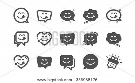 Yummy Smile Icons. Emoticon Speech Bubble, Social Media Message, Smile With Tongue. Tasty Food Eatin
