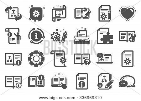 Technical Document Icons. Set Of Instruction, Plan And Manual Icons. Help Document, Building Plan An