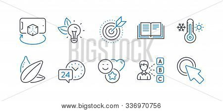 Set Of Business Icons, Such As Eco Energy, Smile, Education, Sunflower Seed, Target Purpose, Thermom