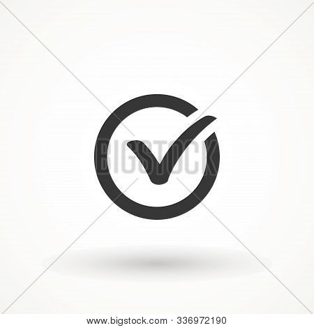 Tick Sign. Checkmark Ok Icon, Simple Mark Graphic Design. Circle Symbol Yes Button For Vote, Check B