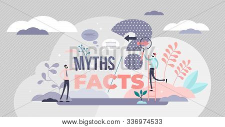Myths And Facts Vector Illustration. Information Accuracy In Flat Tiny Persons Concept. Fake News Ve