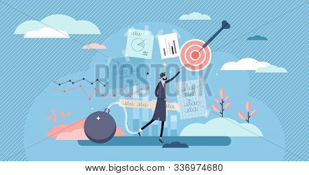 Stuck Vector Illustration. Business Stagnation In Flat Tiny Persons Concept. Abstract Scene With Bus