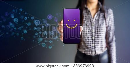Customer Experiences Concept. Happy Female Client Giving Smiling Emoticon Rating, Positive Review Vi