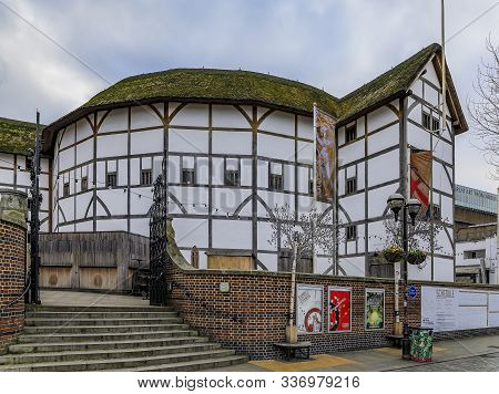 London, England - January 14, 2018: Reconstructed Building Of Shakespeares Globe Theatre With Thatch