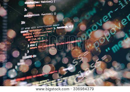 Website Programming Code. It Business. Software Development. Internet Security Hacker Prevention.