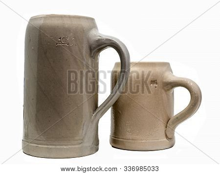 Two Bavarian Beer Mug Made Of Stoneware With Handle Isolated On White