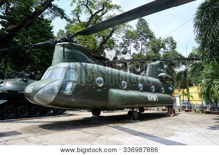 Ho Chi Minh City, Vietnam - November 20, 2019. Helicopter At War Remnants Museum Saigon