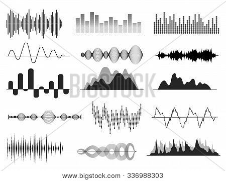 Sound Waves. Music Wave, Audio Frequency Waveform. Radio Voice And Soundtrack Symbol. Soundwave Abst