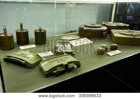Ho Chi Minh City, Vietnam - November 20, 2019. Mine At War Remnants Museum