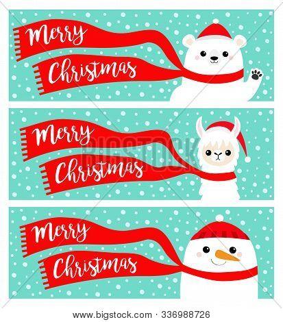 Merry Christmas Banner Set. Alpaca Llama Bear Snowman. Santa Claus Red Hat, Scarf. Cute Cartoon Funn