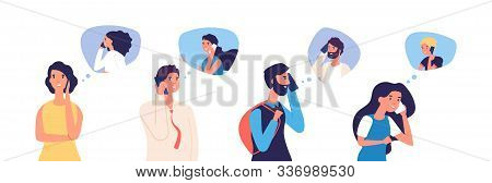 People Talking Phone. Men, Women, Teenagers Calling By Telephone. Flat Communication And Conversatio