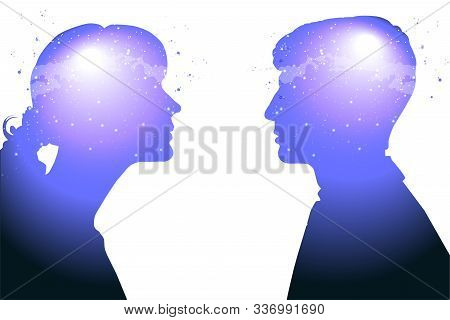 Profile Of A Young Woman And A Man With Mental Activity Brain And Consciousness, With The Cosmos As