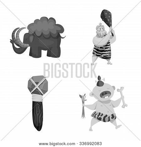 Isolated Object Of Survival And History Icon. Set Of Survival And Prehistory Vector Icon For Stock.