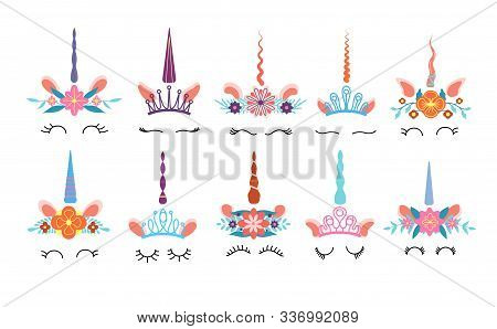 Unicorn Face. Different Cute Funny Unicorns Heads With Magic Horn And Rainbow Flower Wreath And Eyel