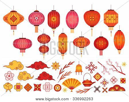 Chinese New Year Elements. Asian Lantern, Japanese Cloud And Sakura Branch. Traditional Korean Flowe