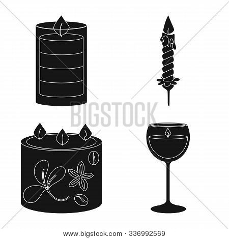 Isolated Object Of Candlelight And Decoration Sign. Collection Of Candlelight And Wax Vector Icon Fo
