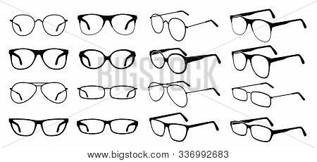 Glasses Silhouette. Cool Eyeglasses, Fashion Black Eyewear. Stylish Retro Sunglasses. Glass Medicine